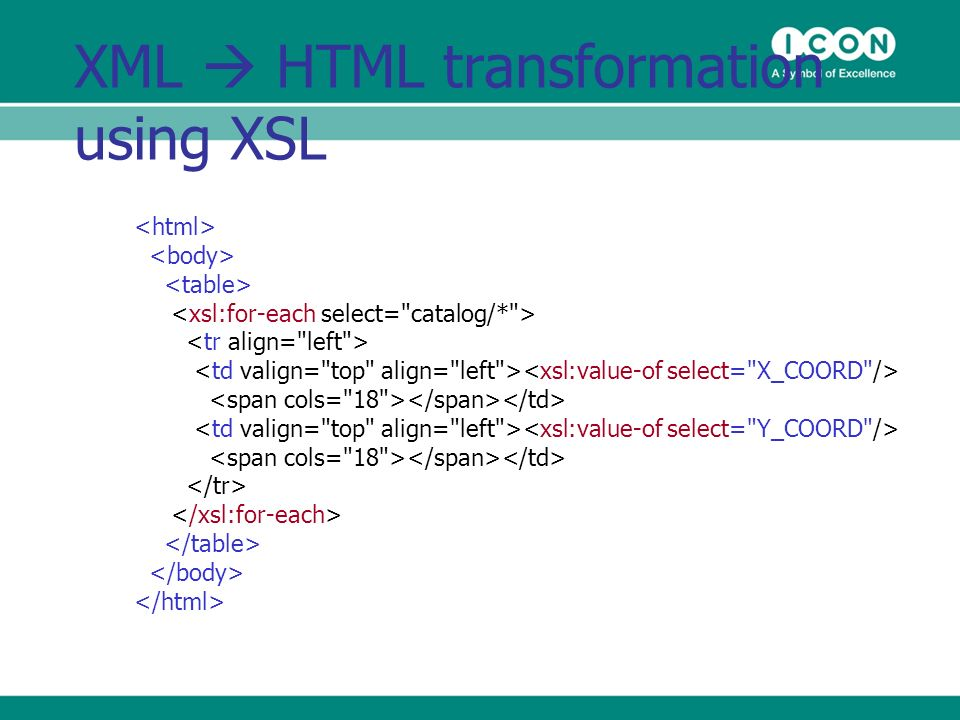 XML HTML transformation using XSL
