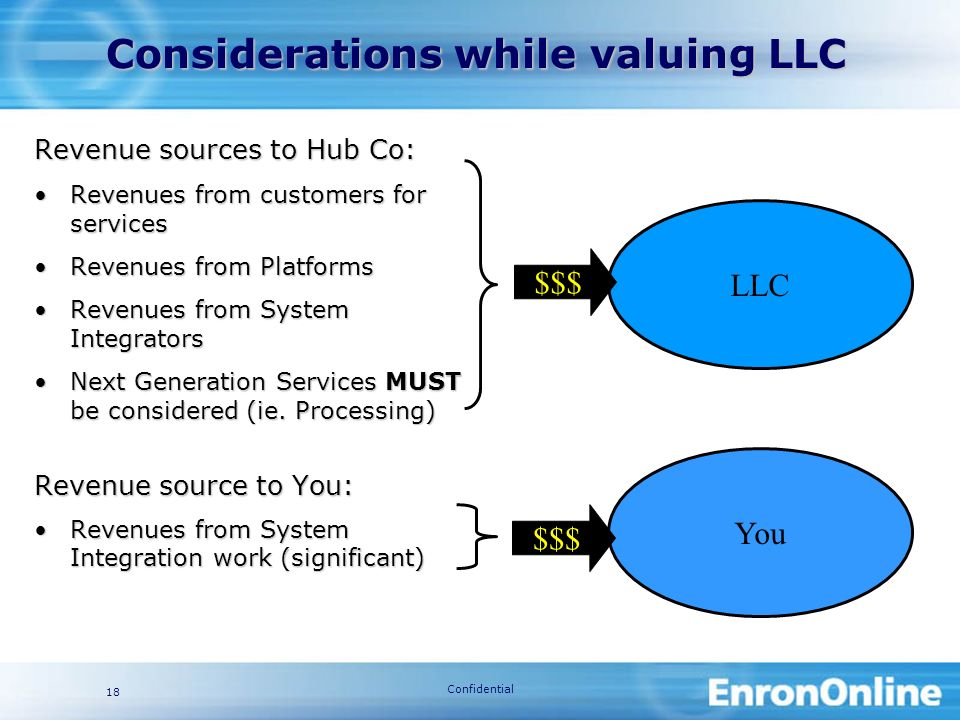 Confidential 18 You Considerations while valuing LLC Revenue sources to Hub Co: Revenues from customers for servicesRevenues from customers for services Revenues from PlatformsRevenues from Platforms Revenues from System IntegratorsRevenues from System Integrators Next Generation Services MUST be considered (ie.