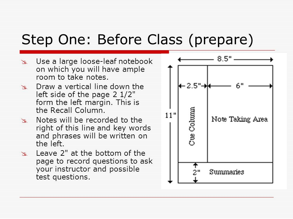 Step One: Before Class (prepare) Use a large loose-leaf notebook on which you will have ample room to take notes. Draw a vertical line down the left s