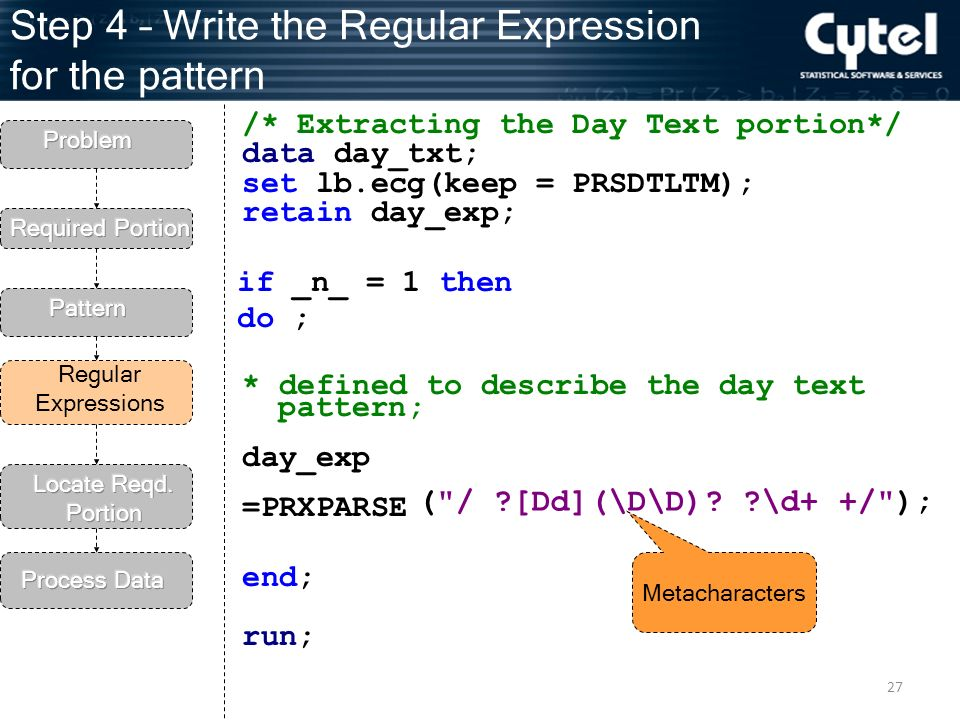 27 Step 4 – Write the Regular Expression for the pattern Regular Expressions /* Extracting the Day Text portion*/ data day_txt; set lb.ecg(keep = PRSDTLTM); retain day_exp; * defined to describe the day text pattern; day_exp =PRXPARSE end; run; ( / [Dd](\D\D).