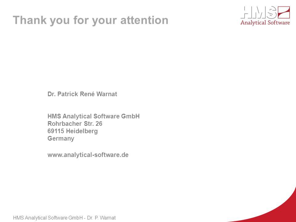 HMS Analytical Software GmbH - Dr. P. Warnat Dr. Patrick René Warnat HMS Analytical Software GmbH Rohrbacher Str. 26 69115 Heidelberg Germany www.anal