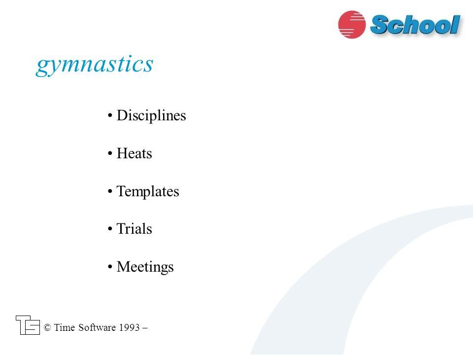 gymnastics Disciplines Heats Templates Trials Meetings © Time Software 1993 –