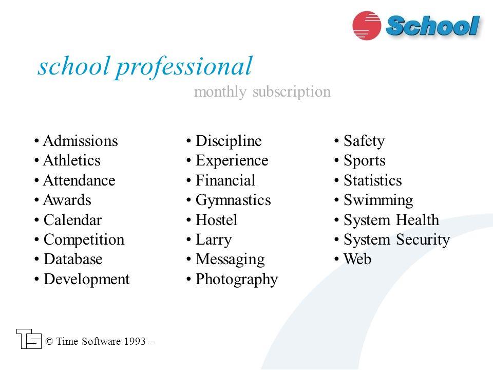 School details Departments Schoolhouses Venues school © Time Software 1993 –