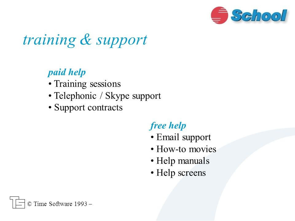 paid help Training sessions Telephonic / Skype support Support contracts training & support free help Email support How-to movies Help manuals Help screens © Time Software 1993 –