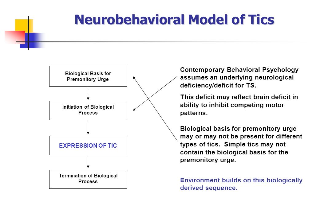 Neurobehavioral Model of Tics Contemporary Behavioral Psychology assumes an underlying neurological deficiency/deficit for TS. This deficit may reflec