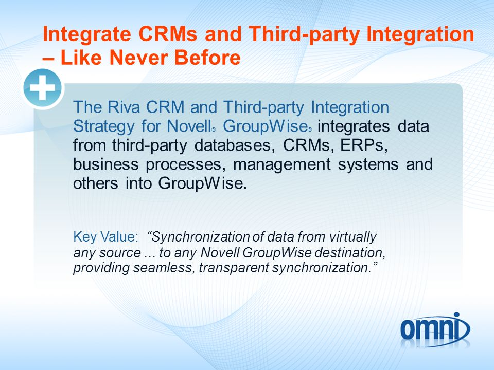 Integrate CRMs and Third-party Integration – Like Never Before The Riva CRM and Third-party Integration Strategy for Novell ® GroupWise ® integrates d