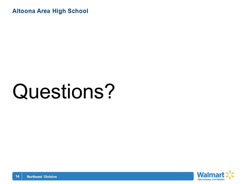 14 Northeast Division Altoona Area High School Questions?
