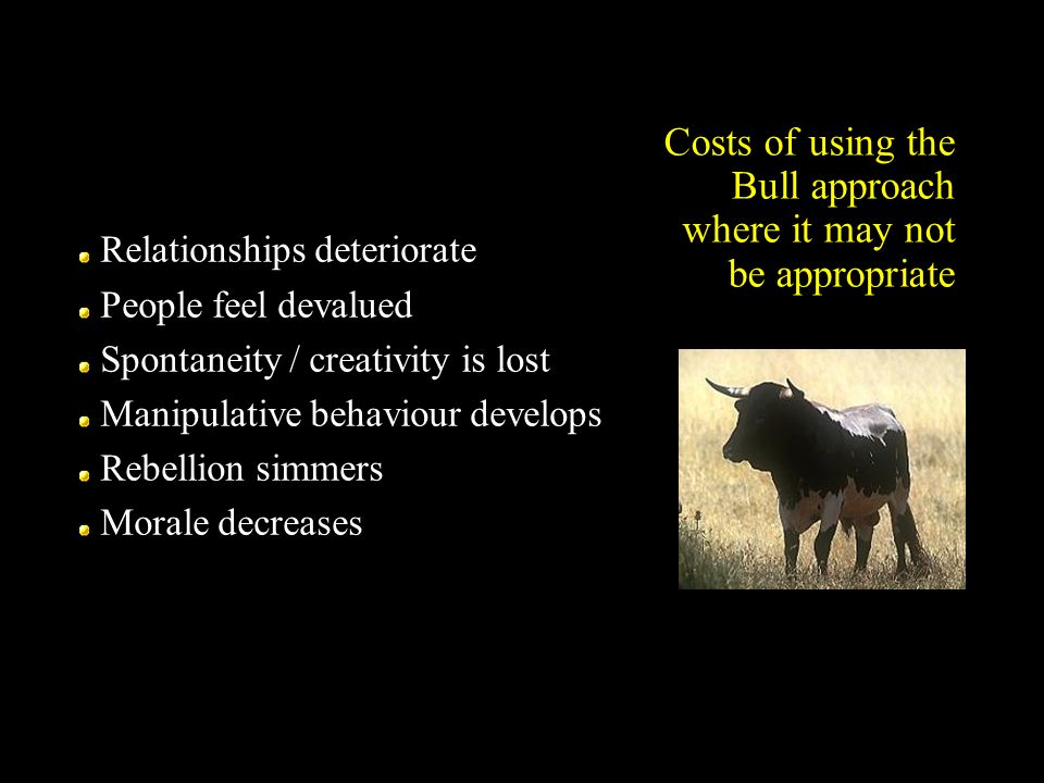 Costs of using the Bull approach where it may not be appropriate Relationships deteriorate People feel devalued Spontaneity / creativity is lost Manip