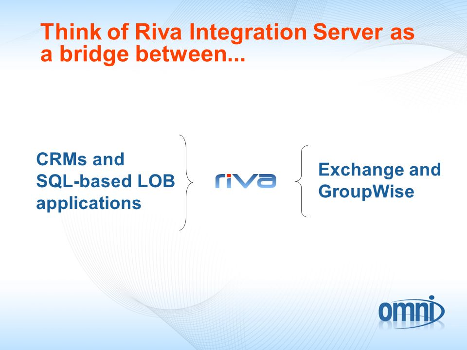 Exchange and GroupWise CRMs and SQL-based LOB applications Think of Riva Integration Server as a bridge between...