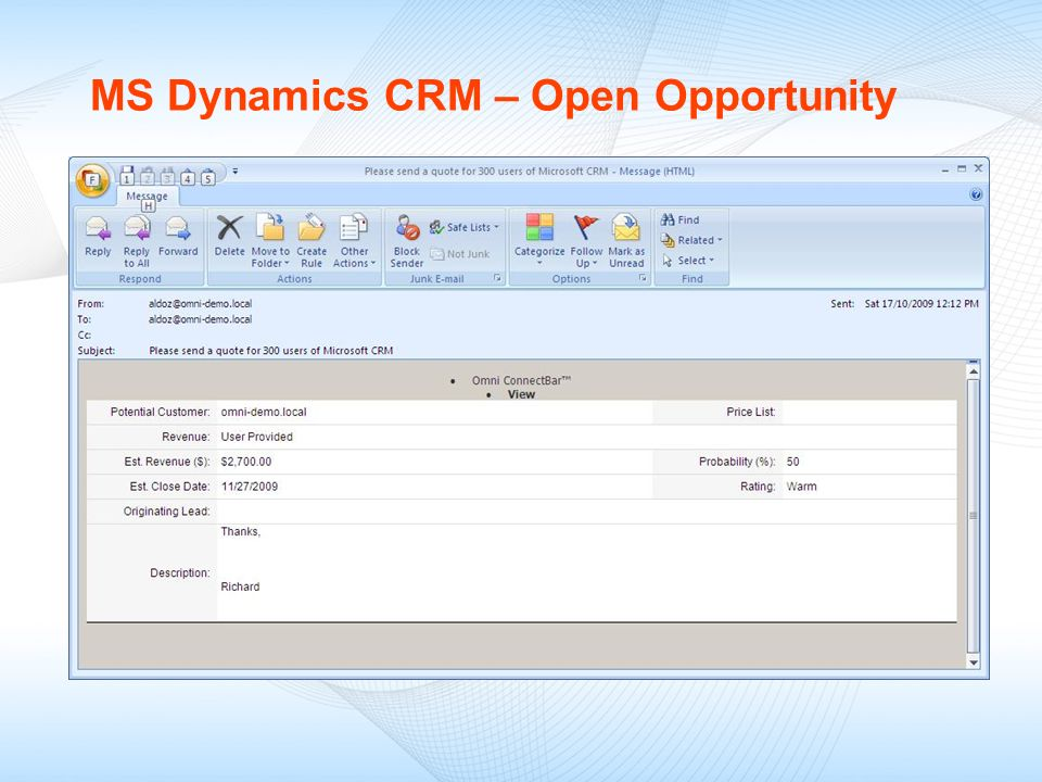 MS Dynamics CRM – Open Opportunity