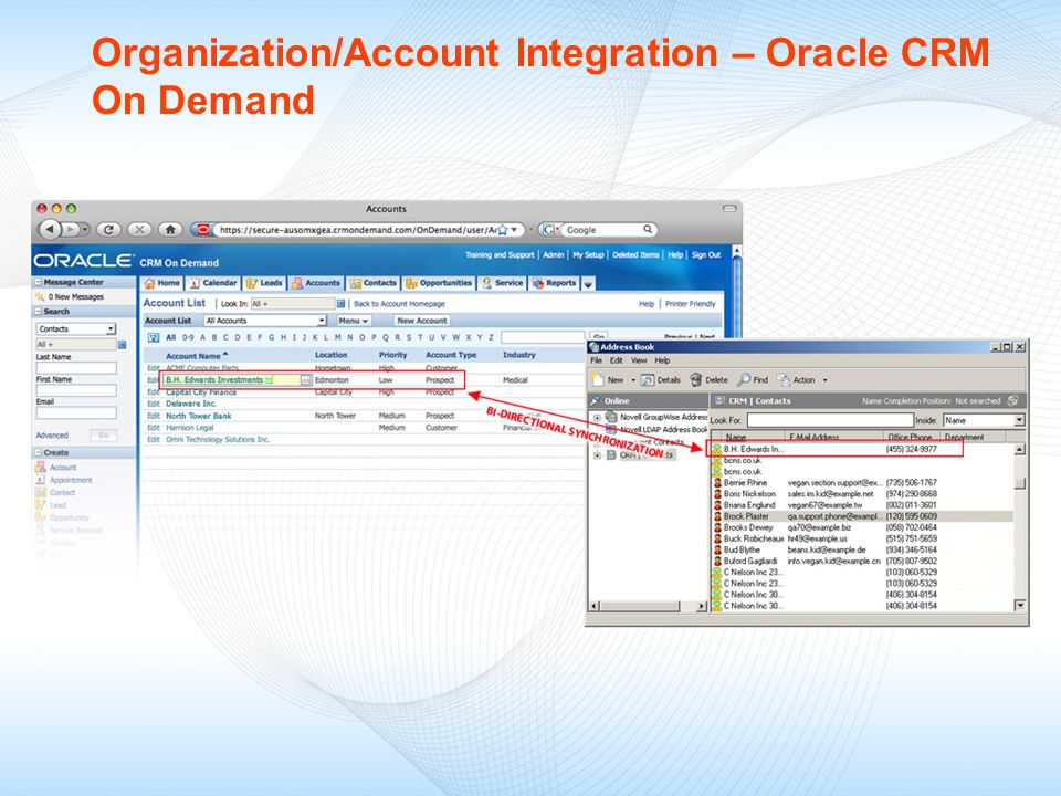 Organization/Account Integration – Oracle CRM On Demand