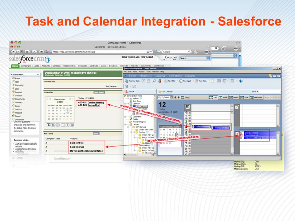 Task and Calendar Integration - Salesforce