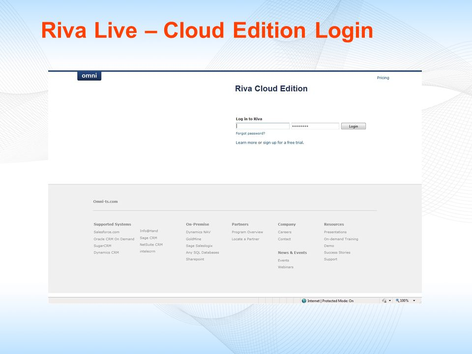Riva Live – Cloud Edition Login