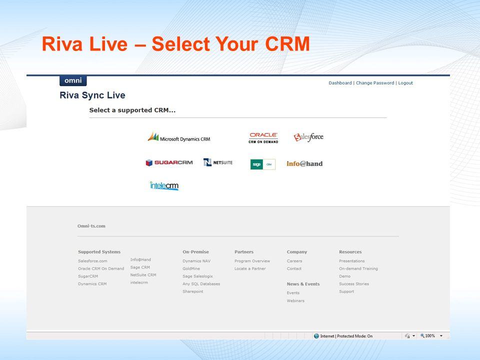 Riva Live – Select Your CRM
