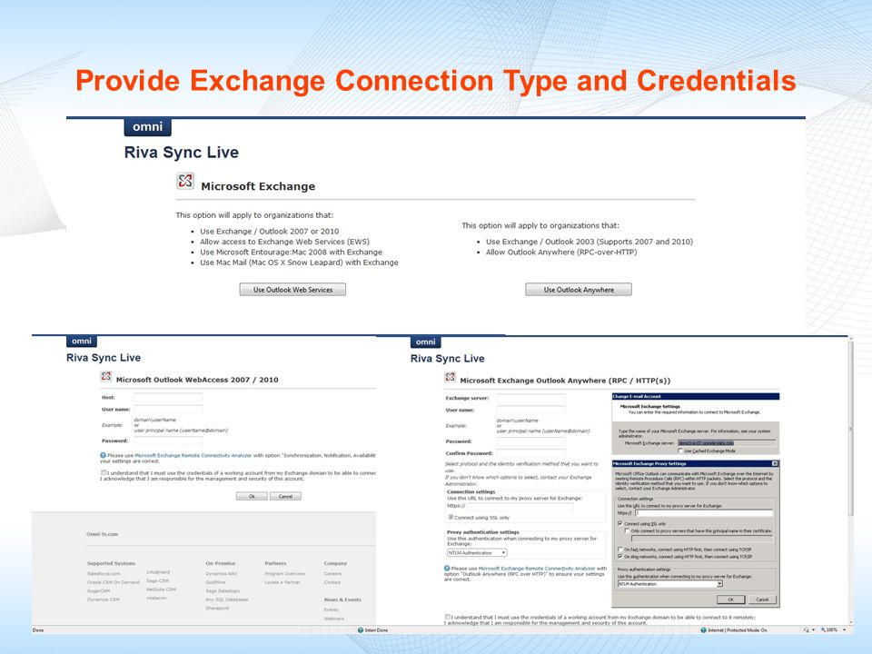 Provide Exchange Connection Type and Credentials