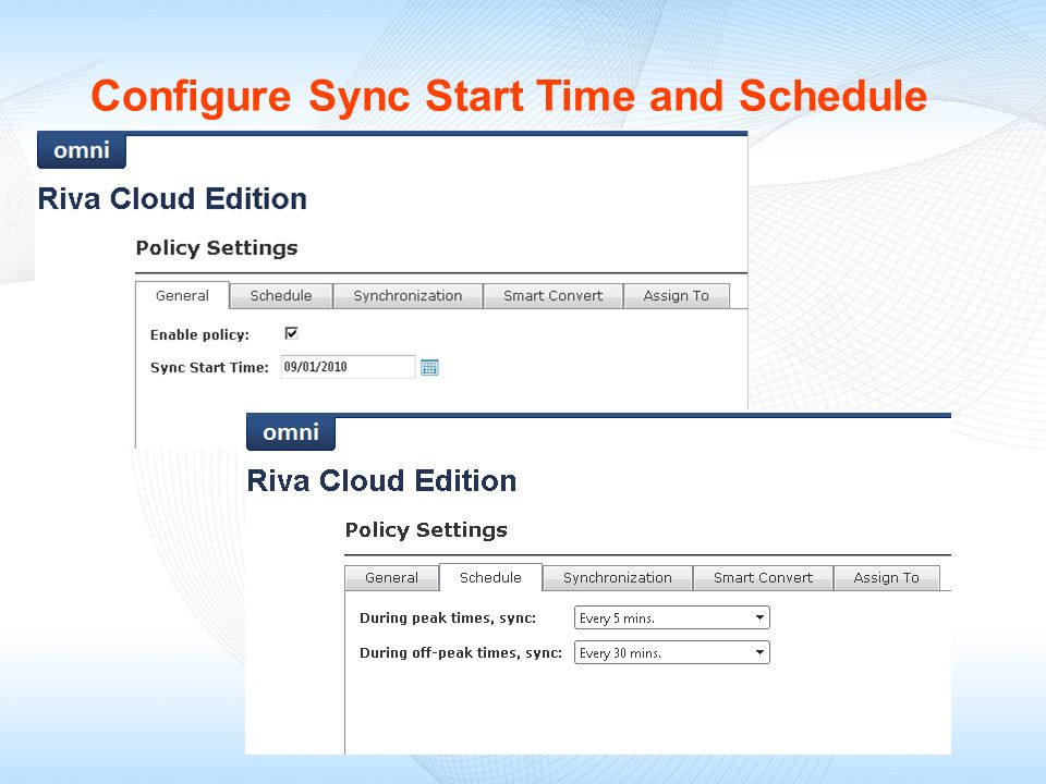 Configure Sync Start Time and Schedule