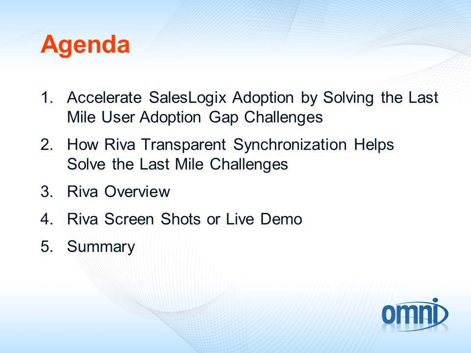 Agenda 1.Accelerate SalesLogix Adoption by Solving the Last Mile User Adoption Gap Challenges 2.How Riva Transparent Synchronization Helps Solve the Last Mile Challenges 3.Riva Overview 4.Riva Screen Shots or Live Demo 5.Summary