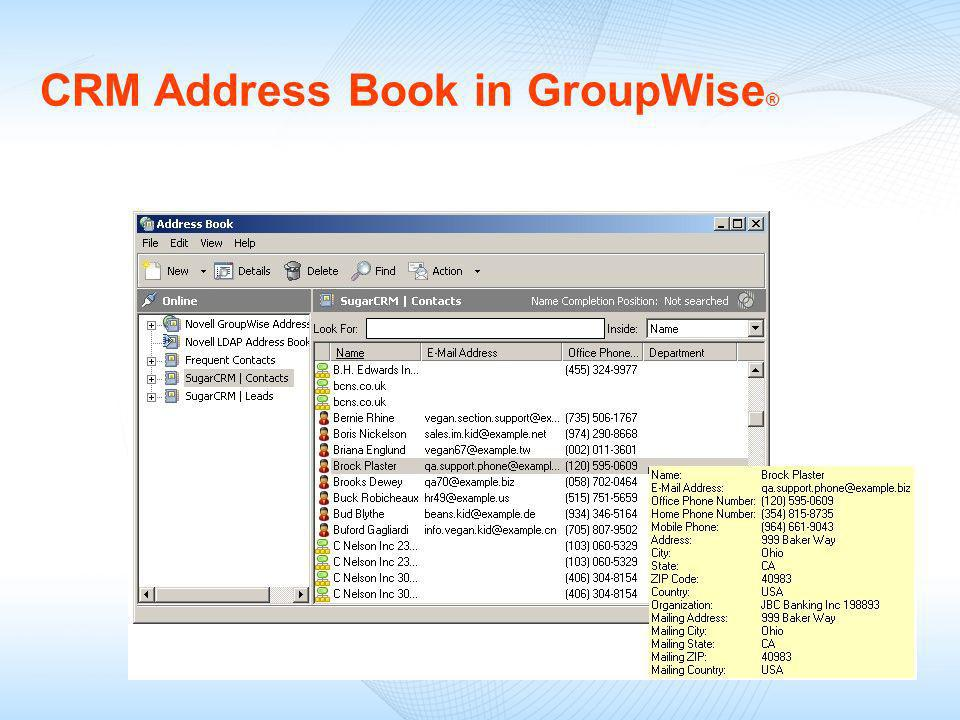 CRM Address Book in GroupWise ®