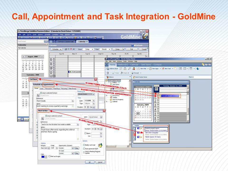 Call, Appointment and Task Integration - GoldMine