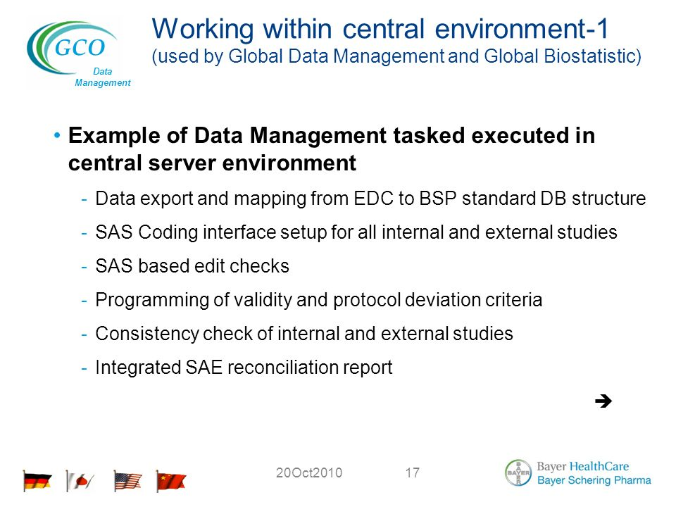 GCO Data Management 20Oct201017 Working within central environment-1 (used by Global Data Management and Global Biostatistic) Example of Data Management tasked executed in central server environment -Data export and mapping from EDC to BSP standard DB structure -SAS Coding interface setup for all internal and external studies -SAS based edit checks -Programming of validity and protocol deviation criteria -Consistency check of internal and external studies -Integrated SAE reconciliation report