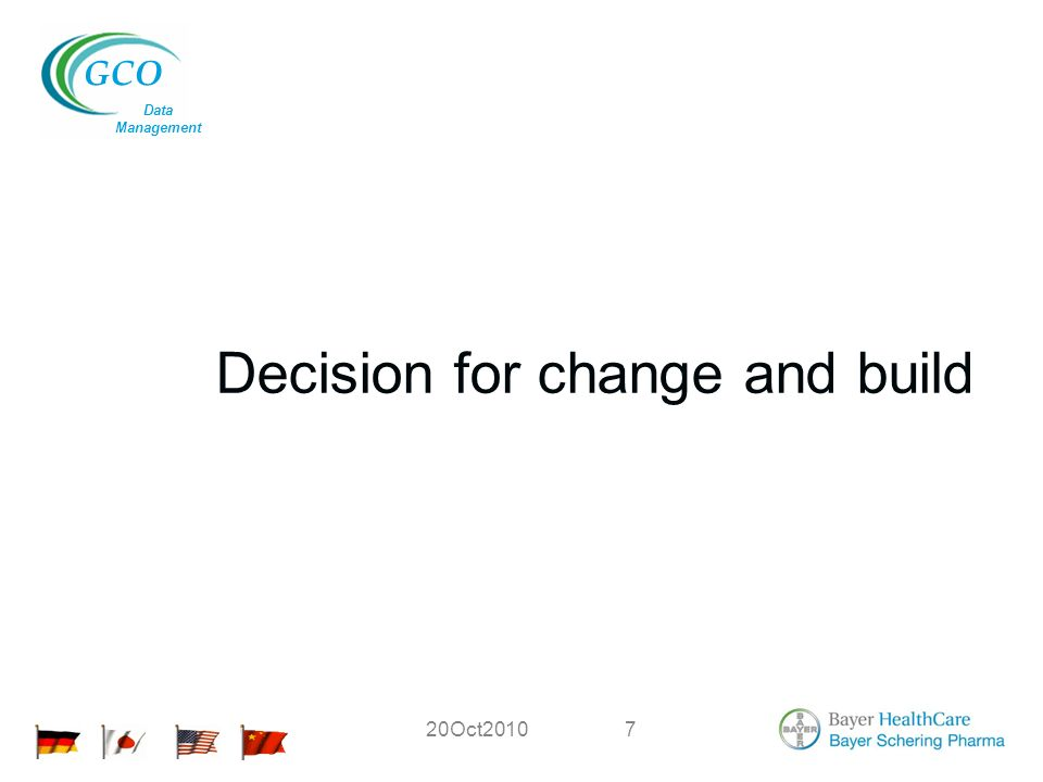 GCO Data Management 20Oct20107 Decision for change and build