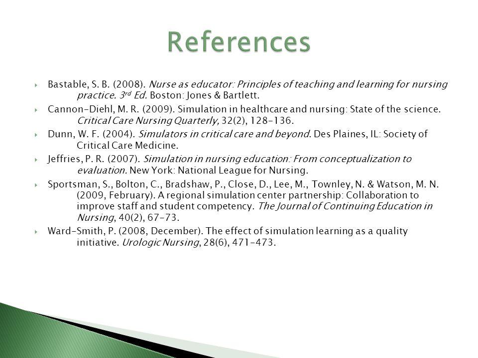Bastable, S. B. (2008). Nurse as educator: Principles of teaching and learning for nursing practice. 3 rd Ed. Boston: Jones & Bartlett. Cannon-Diehl,