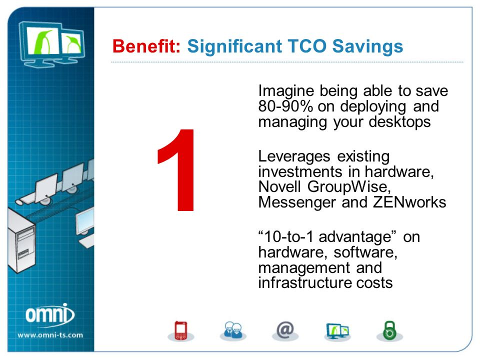 Imagine being able to save 80-90% on deploying and managing your desktops Leverages existing investments in hardware, Novell GroupWise, Messenger and