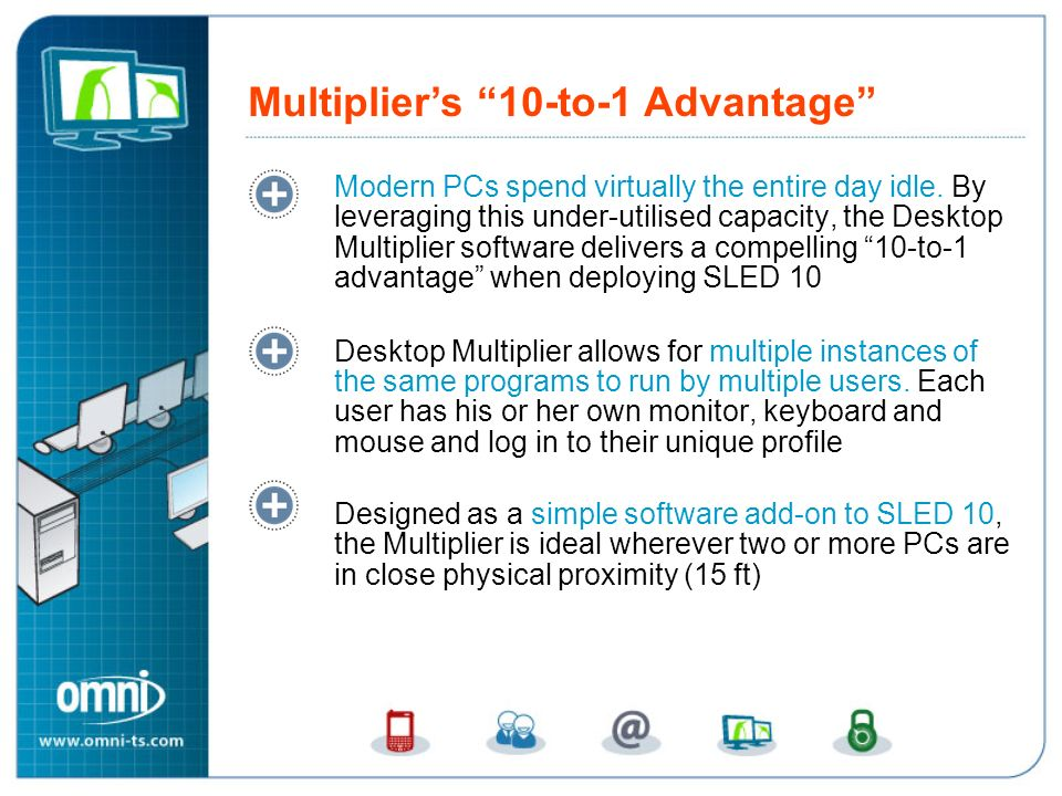 Modern PCs spend virtually the entire day idle. By leveraging this under-utilised capacity, the Desktop Multiplier software delivers a compelling 10-t