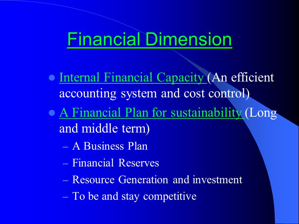 Financial Dimension Financial Dimension Internal Financial Capacity (An efficient accounting system and cost control) Internal Financial Capacity A Financial Plan for sustainability (Long and middle term) A Financial Plan for sustainability – A Business Plan – Financial Reserves – Resource Generation and investment – To be and stay competitive
