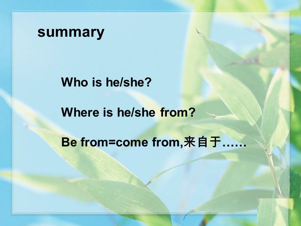 summary Who is he/she? Where is he/she from? Be from=come from, ……