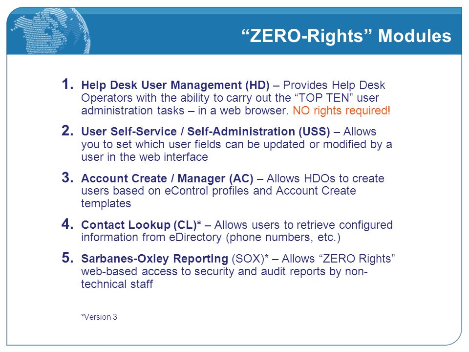 ZERO-Rights Modules 1.
