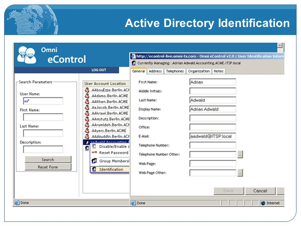 Active Directory Identification