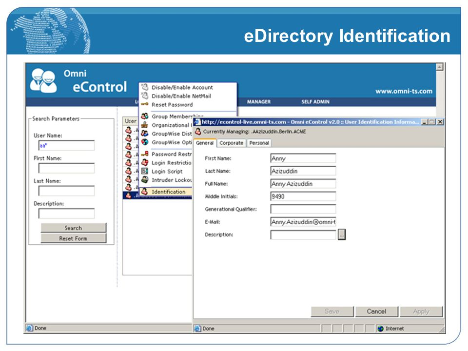 eDirectory Identification