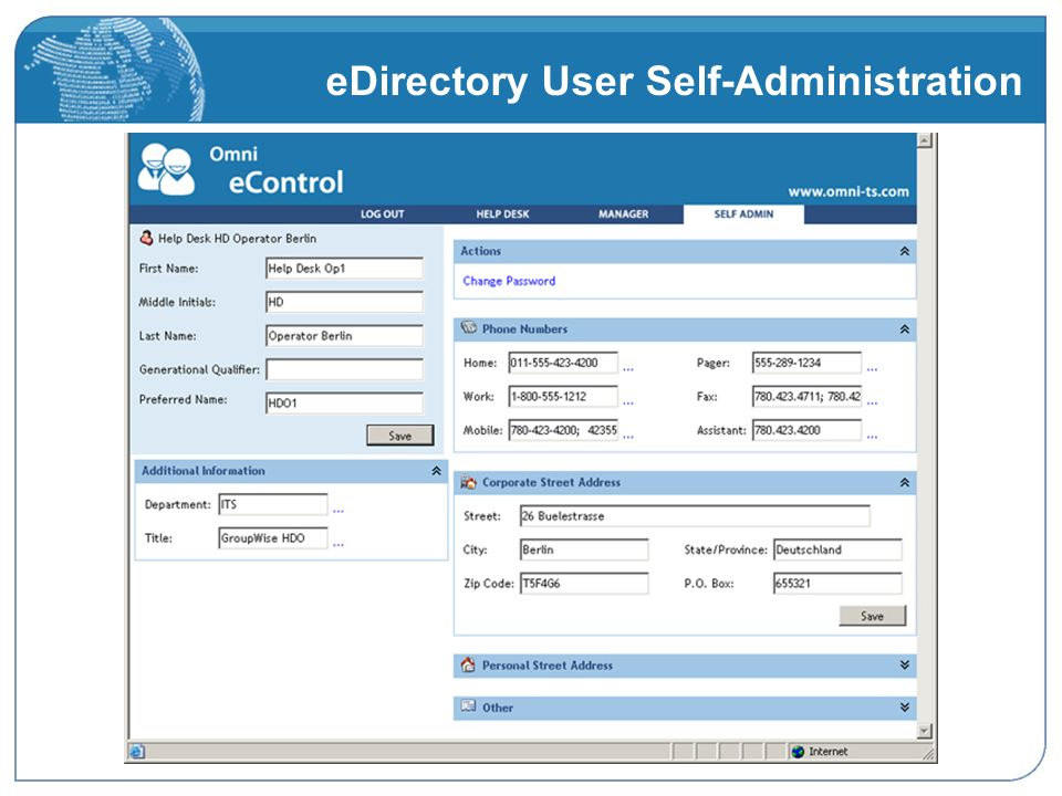 eDirectory User Self-Administration