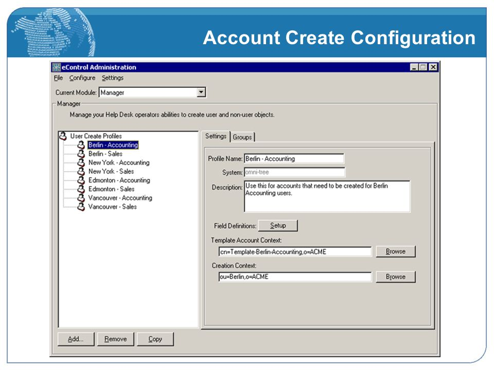Account Create Configuration