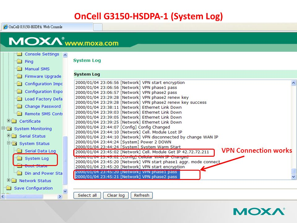 OnCell G3150-HSDPA-1 (System Log) VPN Connection works