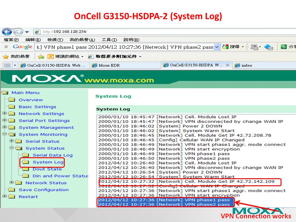 OnCell G3150-HSDPA-2 (System Log) VPN Connection works