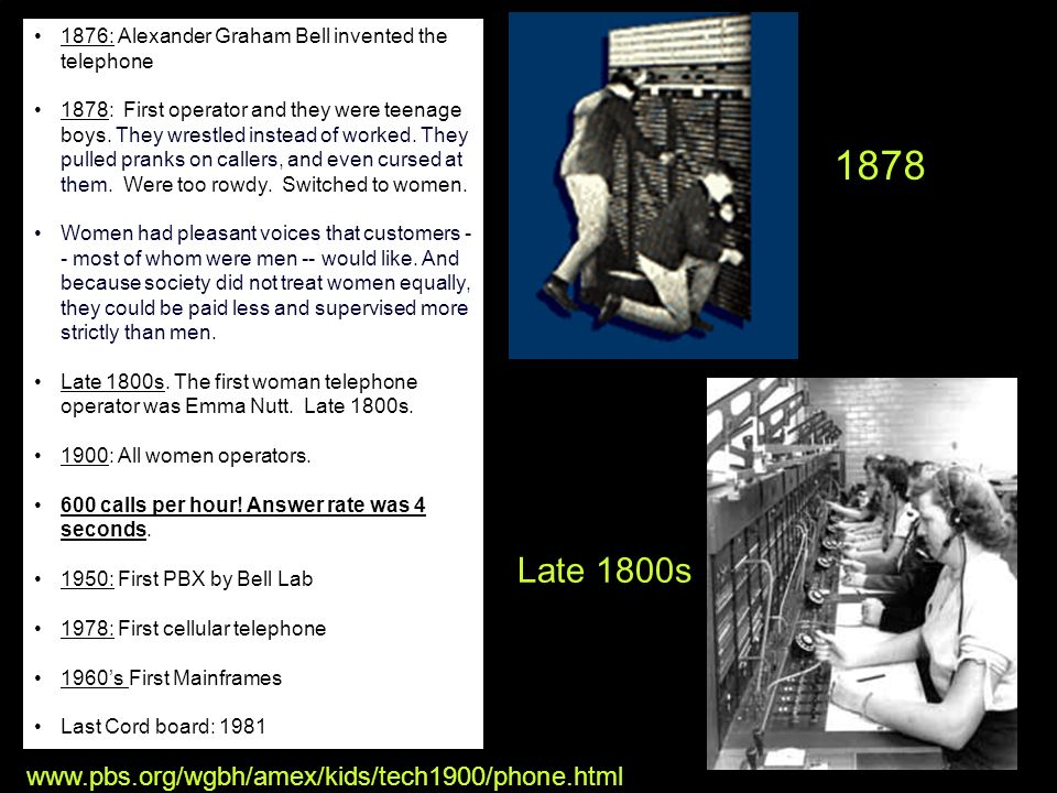 Explore Your Options High Tech High Touch Solutions e.html 1876: Alexander Graham Bell invented the telephone 1878: First operator and they were teena
