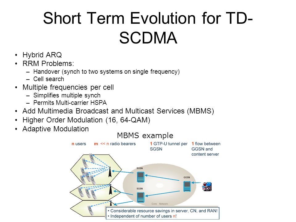 Short Term Evolution for TD- SCDMA Hybrid ARQ RRM Problems: –Handover (synch to two systems on single frequency) –Cell search Multiple frequencies per cell –Simplifies multiple synch –Permits Multi-carrier HSPA Add Multimedia Broadcast and Multicast Services (MBMS) Higher Order Modulation (16, 64-QAM) Adaptive Modulation MBMS example