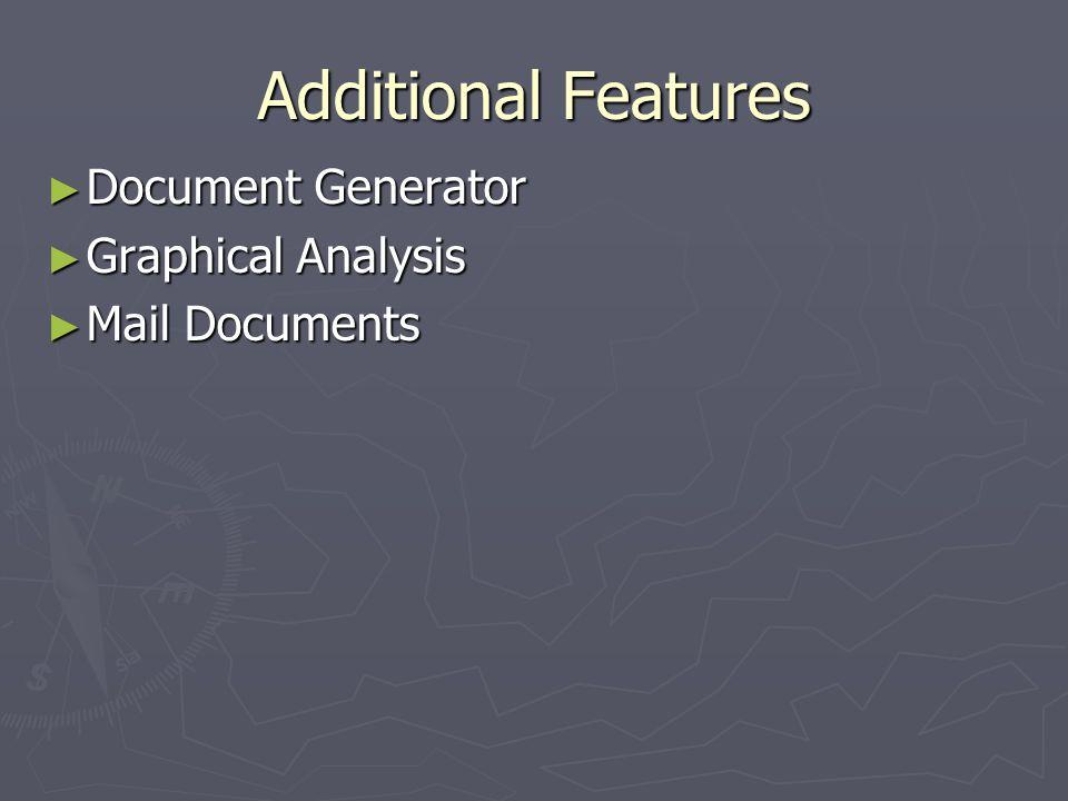 Additional Features Document Generator Document Generator Graphical Analysis Graphical Analysis Mail Documents Mail Documents