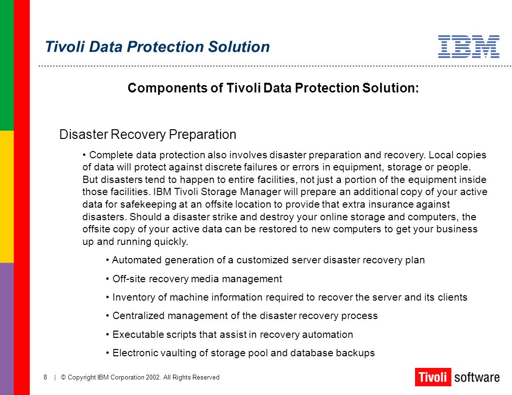 8 | © Copyright IBM Corporation 2002. All Rights Reserved Components of Tivoli Data Protection Solution: Disaster Recovery Preparation Complete data p