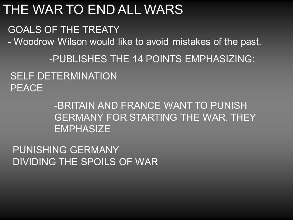 THE WAR TO END ALL WARS GOALS OF THE TREATY - Woodrow Wilson would like to avoid mistakes of the past. -PUBLISHES THE 14 POINTS EMPHASIZING: SELF DETE