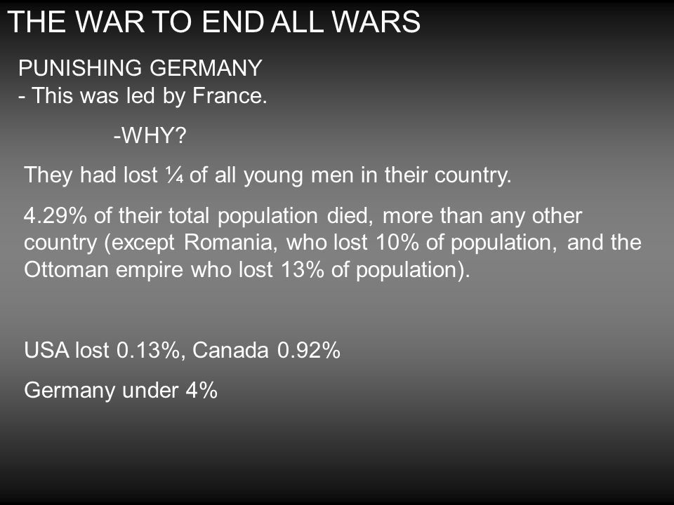 THE WAR TO END ALL WARS PUNISHING GERMANY - This was led by France. -WHY? They had lost ¼ of all young men in their country. 4.29% of their total popu