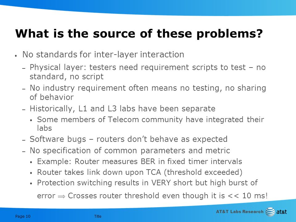 AT&T Labs Research Title Page 9 Some of the problems weve encountered 1 st Generation of IP/OL SONET alarms received by upper layer are ambiguous and