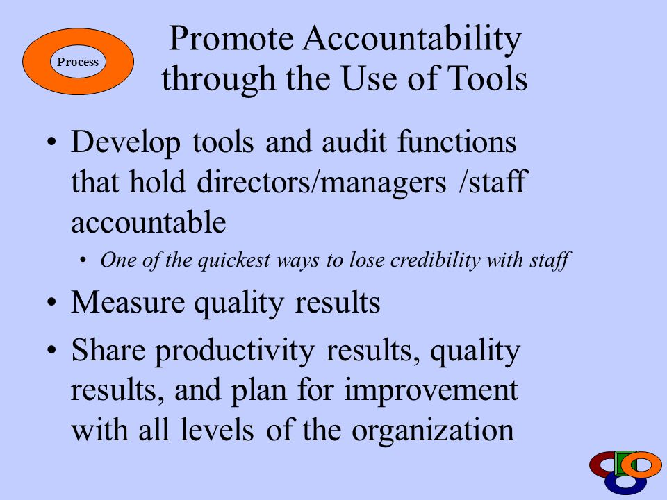 Promote Accountability through the Use of Tools Develop tools and audit functions that hold directors/managers /staff accountable One of the quickest