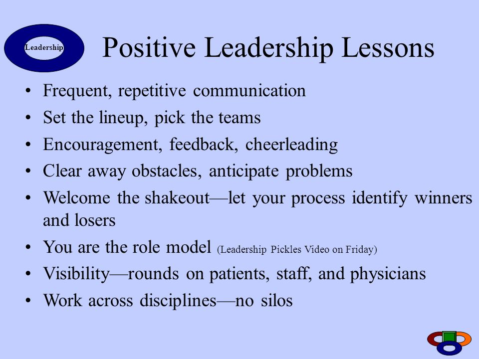 Positive Leadership Lessons Frequent, repetitive communication Set the lineup, pick the teams Encouragement, feedback, cheerleading Clear away obstacl