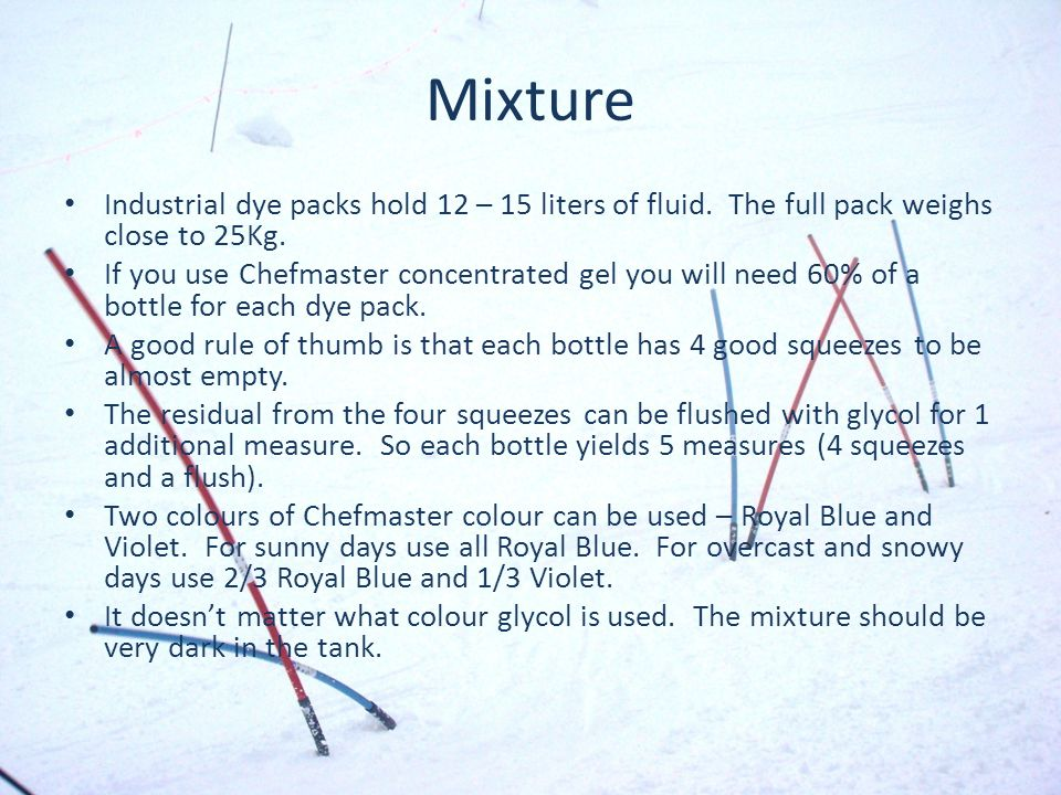 Mixture Industrial dye packs hold 12 – 15 liters of fluid. The full pack weighs close to 25Kg. If you use Chefmaster concentrated gel you will need 60