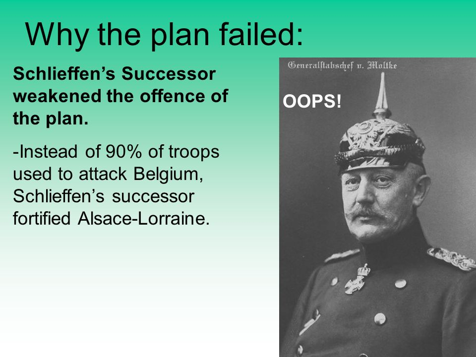 Why the plan failed: Schlieffens Successor weakened the offence of the plan.