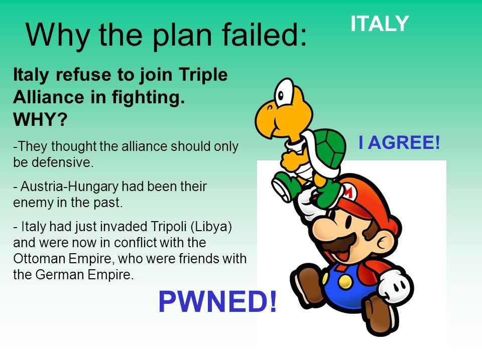 Why the plan failed: Italy refuse to join Triple Alliance in fighting. WHY? -They thought the alliance should only be defensive. - Austria-Hungary had