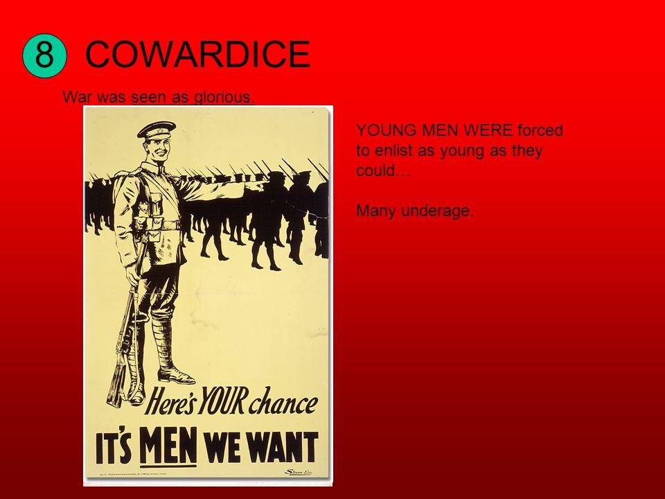 8COWARDICE War was seen as glorious.